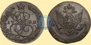 Медная монета 5 копеек 1782 года